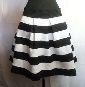 Express black and white stripe pleated skirt